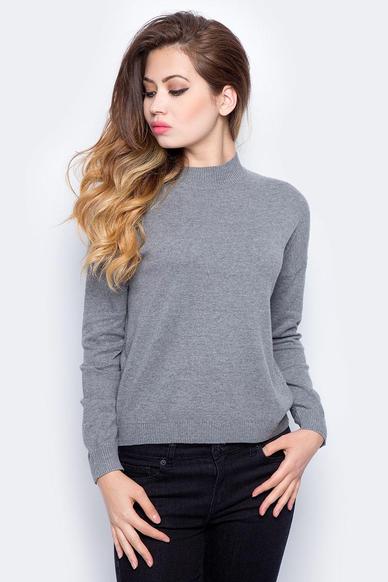 Джемпер женский Sela, цвет: темно-серый меланж. JR-114/1227-7321. Размер S (44) все цены