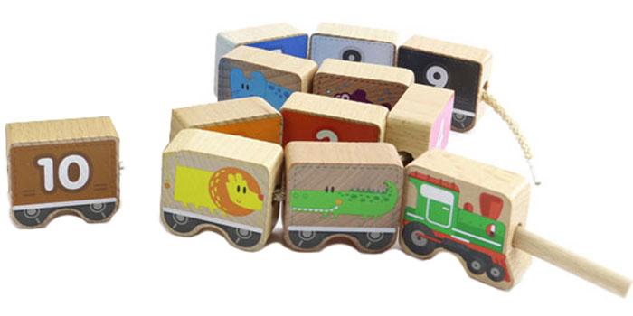 Игрушки из дерева Игра-шнуровка Паровозик Цифры конструкторы игрушки из дерева трамвай