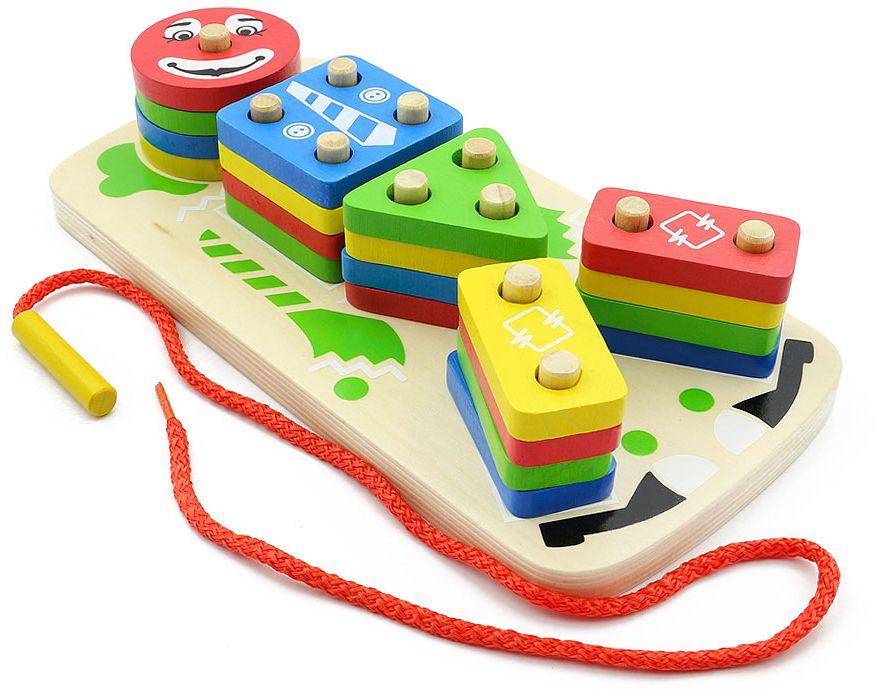 Игрушки из дерева Пирамида-сортер Клоун конструкторы игрушки из дерева трамвай