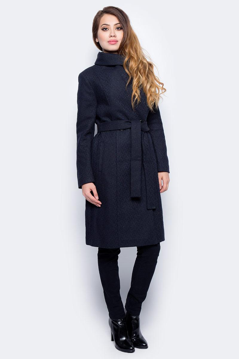 Пальто женское Sela, цвет: темный деним. Ce-126/1011-7311. Размер M (46)Ce-126/1011-7311Стильное женское пальто от Sela выполнено из высококачественного материала с добавлением шерсти. Модель приталенного силуэта застегивается на пуговицы, на талии дополнена поясом, по бокам имеются втачные карманы.