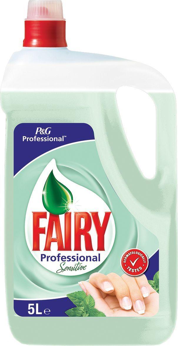 Средство для мытья посуды Fairy Professional Sensitive, для чувствительной кожи рук, концентрированное, 5 л4084500583115Средство для мытья Fairy Professional Sensitive - безопасный продукт, разработанный в европейском научно исследовательском центре (Brussels Innovation Centre) и полностью соответствующий ГОСТу РФ, и полностью смывается с посуды.Основные преимущества: - Отмывает в 2 раза больше посуды. - Быстро справляется с засохшим жиром. - Мягкий для рук. - Полностью смывается водой.Товар сертифицирован.Как выбрать качественную бытовую химию, безопасную для природы и людей. Статья OZON Гид