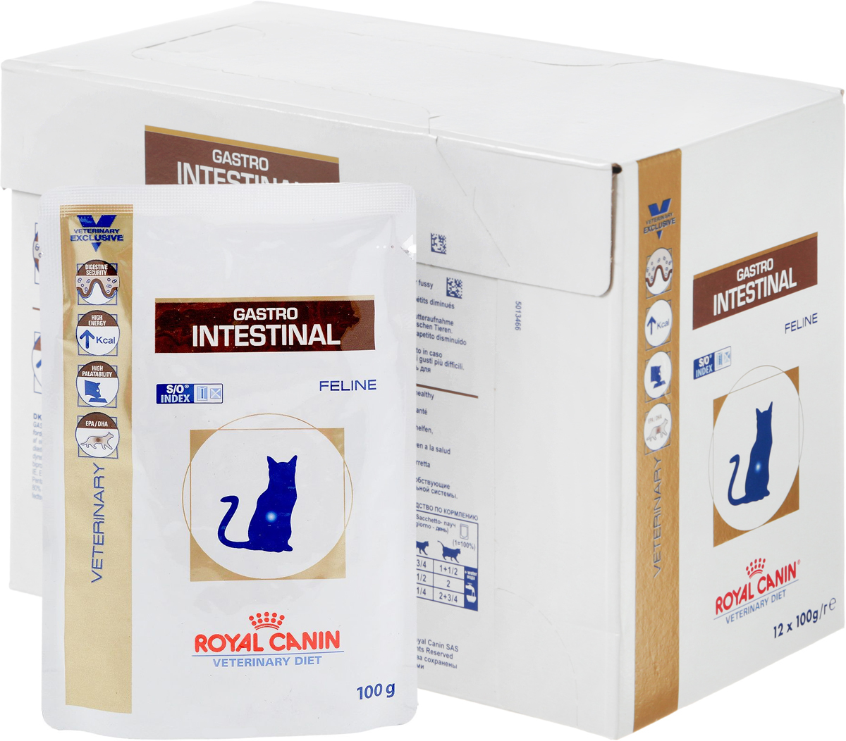 Консервы диетические Royal Canin  Gastro Intestinal  для кошек, при нарушениях пищеварения, 100 г, 12 шт - Корма и лакомства