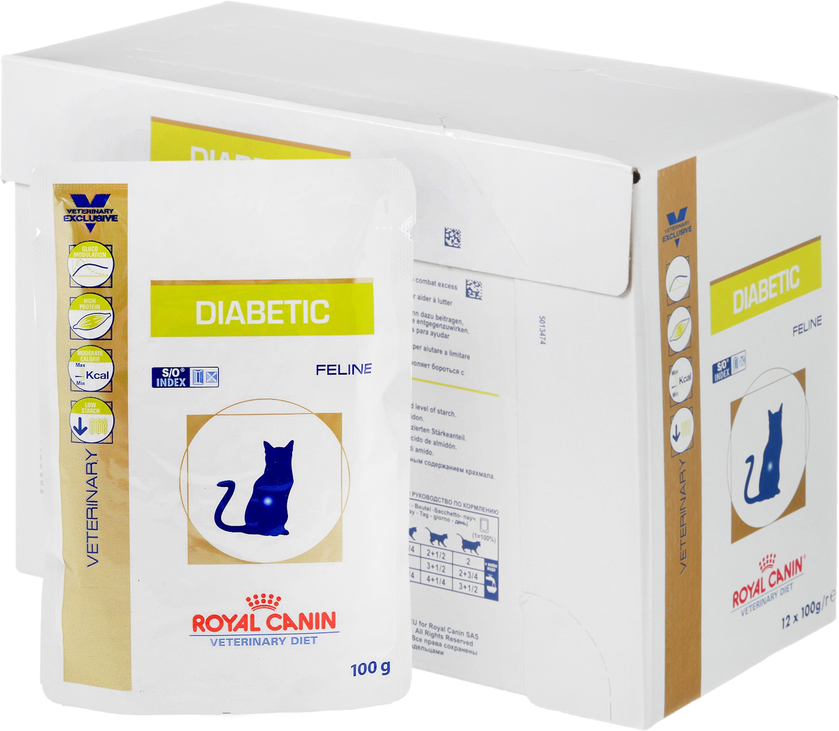 Консервы диетические Royal Canin Diabetic DS46 для кошек, при сахарном диабете, 100 г, 12 шт роял канин диабетик дс 46 консервы пауч для кошек при сахарном диабете royal canin diabetic feline ds 46 100 г