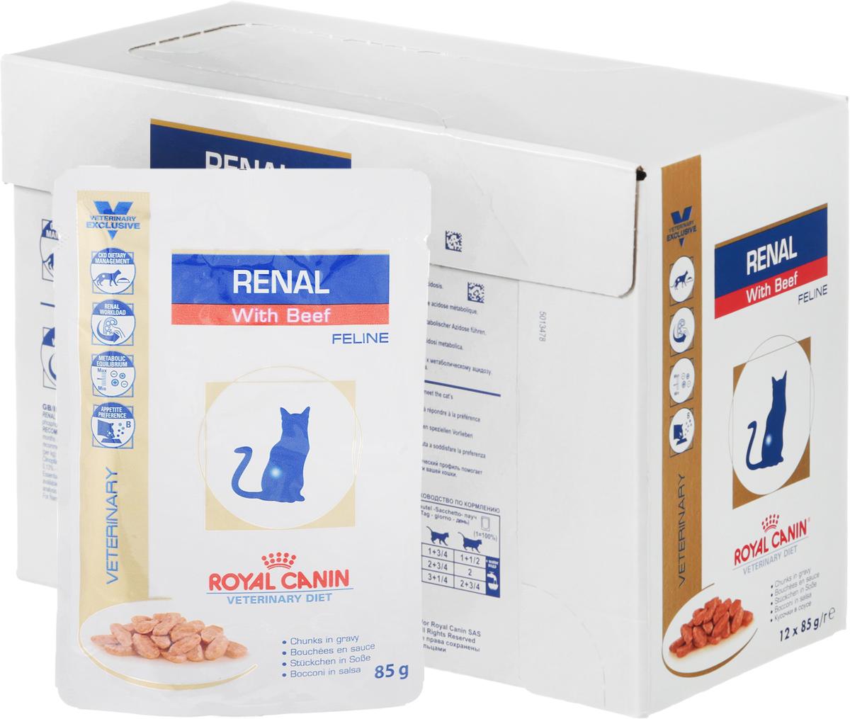 Консервы Royal Canin Renal Feline для кошек с почечной недостаточностью, с говядиной, 85 г, 12 шт58823Консервы Royal Canin Renal Feline предназначены для кошек с почечной недостаточностью. Показания: - Хроническая почечная недостаточность (ХПН); - Профилактика рецидивов образования камней оксалата кальция у кошек с ослабленной функцией почек;- Профилактика рецидивов уролитиаза (уратов, цистинов), вызванных снижением уровня рН мочи; Противопоказания: - Беременность, лактация, рост.Длительность курса применения: Минимальный срок назначения диетотерапии составляет 6 месяцев. По истечении этого времени необходимо повторное общее обследование.Если повреждены 3/4 нефронов почек, болезнь приобретает необратимый характер, и диетотерапию назначают для применения в течение всей жизни кошки. Особенности: - Диетологическое лечение ХПН. Формула продуктов специально разработана для поддержания почечной функции при ХПН. Продукты отличаются низким содержанием фосфора, содержат комплекс антиоксидантов, жирные кислоты ЕРА и DHA. При ХПН почки теряют способность надлежащим образом выводить фосфор. Низкое содержание фосфора в продукте способствует замедлению развития болезни. При кормлении диетическим кормом с адаптированным содержанием рыбьего жира (источника незаменимых жирных кислот ЕРА и DHA) повышается скорость клубочковой фильтрации. - Снижение нагрузки на почки. Чрезмерная нагрузка на почки может спровоцировать уремический криз. Высокое качество и адаптированное содержание белков способствуют снижению нагрузки на почки. Если содержание белка в рационе значительно превышает минимальные потребности, при сниженной экскреторной функции почек продукты распада азота накапливаются в биологических жидкостях. - Метаболическое равновесие. ХПН может привести к метаболическому ацидозу, поэтому в состав продуктов входят подщелачивающие вещества. Почки играют важнейшую роль в поддержании кислотно-щелочного баланса. При нарушенной функции почек их способность к выведению ионов водорода и реабс