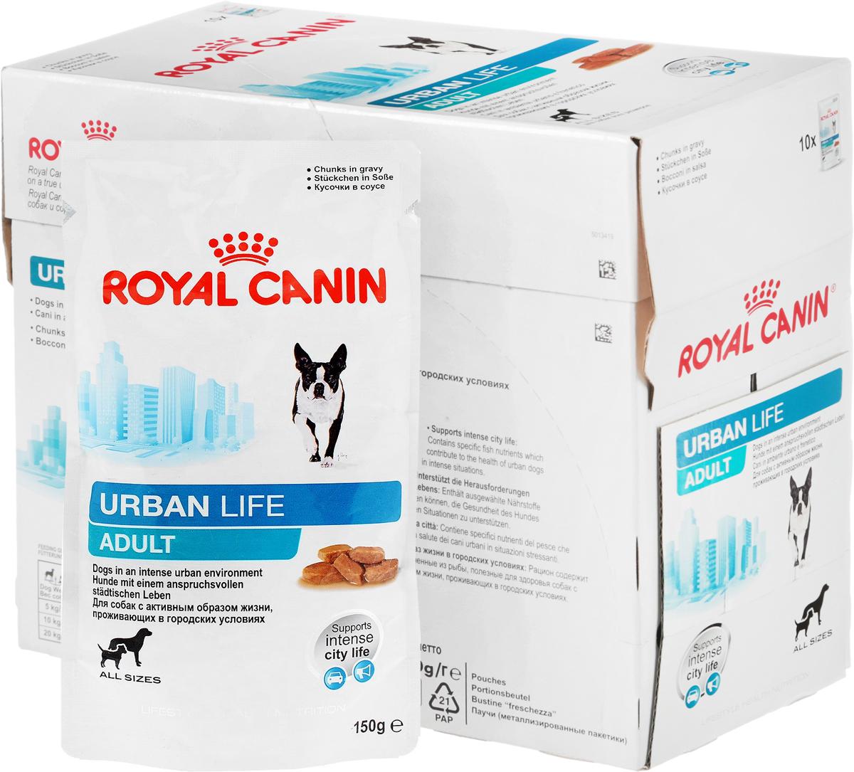 Консервы Royal Canin Urban Life Adult, для взрослых собак, живущих в городских условиях, мелкие кусочки в соусе, 150 г, 12 шт57332Консервы Royal Canin Urban Life Adult - это полнорационный корм для взрослых собак (весом менее 44 кг) в возрасте от 10-15 месяцев, живущих в городских условиях. Поддержка в городской среде. Собаки, живущие в городе, подвержены воздействию загрязненной окружающей среды, связанному с оксидативным стрессом. Urban Life Adult содержит уникальный комплекс антиоксидантов, помогающий собакам, живущим в городе, справляться с оксидативным стрессом, вызванным загрязнением окружающей среды. Продукт содержит ценные питательные вещества из рыбного сырья, которые также способствуют поддержанию здоровья городской собаки, часто сталкивающейся со стрессовыми ситуациями (городской шум, скопления людей, автомобильное движение).Поддержание жизненных сил. Содержание питательных веществ и энергии в продукте подобраны таким образом, чтобы сохранить здоровье собаки в насыщенной городской среде. В составе продукта присутствуют вещества, необходимые для обеспечения нормальной работы нервной системы. Состав: мясо и мясные субпродукты, злаки, экстракты белков растительного происхождения, масла и жиры, субпродукты растительного происхождения, минеральные вещества, рыба и рыбные субпродукты, источники углеводов, дрожжи.Добавки (в 1 кг): Витамин D3: 156 ME, Железо: 12 мг, Йод: 0,35 мг, Медь: 2,8 мг, Марганец: 3,7 мг, Цинк: 37 мг.Содержание питательных веществ: Белки: 7,5%, Жиры: 5%, Минеральные вещества: 1,4%, Клетчатка пищевая: 1%, Влажность: 79%.Товар сертифицирован.