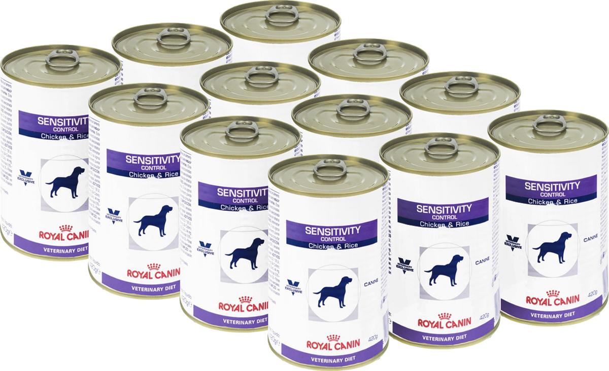 Консервы для собак Royal Canin Sensitivity Control, при пищевой аллергии или непереносимости, с курицей и рисом, 420 г, 12 шт royal canin sensitivity control диетический консервированный корм для собак 420 г