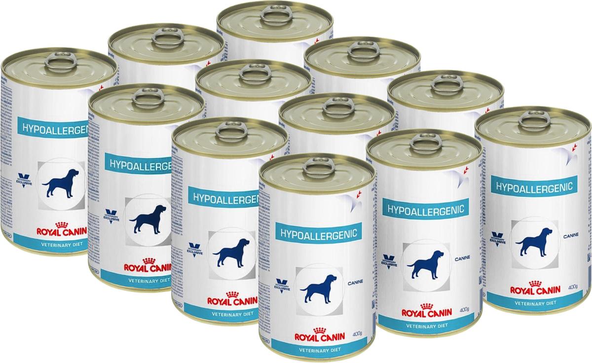 Консервы для собак Royal Canin Hypoallergenic, при пищевой аллергии и непереносимости, 400 г, 12 шт44903Royal Canin Hypoallergenic - полнорационныйдиетический корм для собак, применяемый припищевой аллергии или непереносимостинекоторых ингредиентов и нутриентов.Специально подобранные источники белков иуглеводов.Показания:- исключающая диета;- аллергия алиментарной природы, проявляющаяся нарушениями со стороныкожного покрова и/или пищеварительного тракта;- пищевая непереносимость;- хроническое воспаление кишечника;- экзокринная недостаточность поджелудочнойжелезы;- хроническая диарея;- пролиферация бактерий в тонком кишечнике.Противопоказания:- беременность, лактация, рост. Гидролизат соевого белка, состоящий изпептидов с небольшой молекулярной массой,обладает высокой усвояемостью игипоаллергенным действием.Сочетание инозитола, пантотеновой кислоты,ниацина, холина, гистидина усиливает защитныефункции кожи и предотвращает ее излишнююсухость.Комплекс антиоксидантов синергичного действияуменьшает окислительный стресс и помогаетнейтрализовать свободные радикалы. Линолевая, эйкозапентаеновая (EPA) идокозагексаеновая (DHA), жирные кислоты,входящие в состав корма, помогают регулироватькожные реакции и поддерживают кожу вздоровом состоянии.Состав: субпродукты растительногопроисхождения (гороховый крахмал), экстрактыбелков растительного происхождения(гидролизат соевого белка), масла и жиры,минеральные вещества, мясо и мясныесубпродукты (гидролизат печени птицы),углеводы.Добавки на 1 кг: витамин А: 5000 МЕ, витаминD3: 340 МЕ, железо: 25 мг, йод: 2 мг, медь: 6 мг,марганец: 32 мг, цинк: 120 мг.Питательные вещества на 100 г: белки 6%, жиры3,5%, минеральные вещества 1,6%, клетчаткапищевая 2%, влажность 74,5%. Энергетическая ценность на кг: 1051 ккал. Вес: 400 г. Товар сертифицирован.