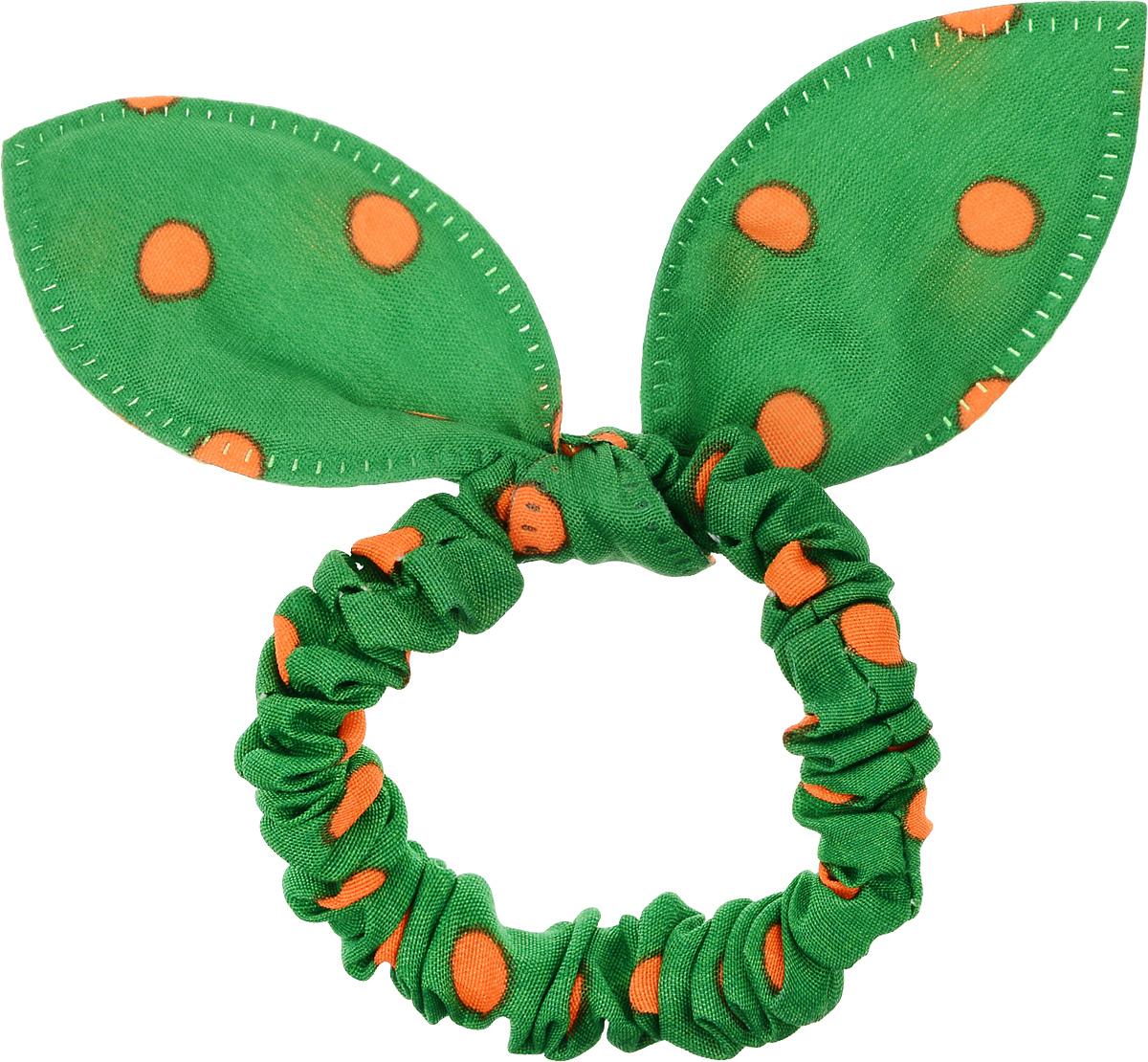 Magic Leverage Резинка для волос, цвет: зеленый, оранжевыйРГ_з_зеленый, оранжевыйСтильная резинка для волос Magic Leverage подчеркнет красоту вашей прически. Резинка выполнена из мягкого текстильного материала и оформлена стильным принтом в горох, а также дополнена оригинальным бантиком, который будет великолепно смотреться в ваших волосах.С помощью такой резинки вы сможете создать множество оригинальных причесок. Яркость и удобство резинки для волос делают ее практичным и модным аксессуаром.