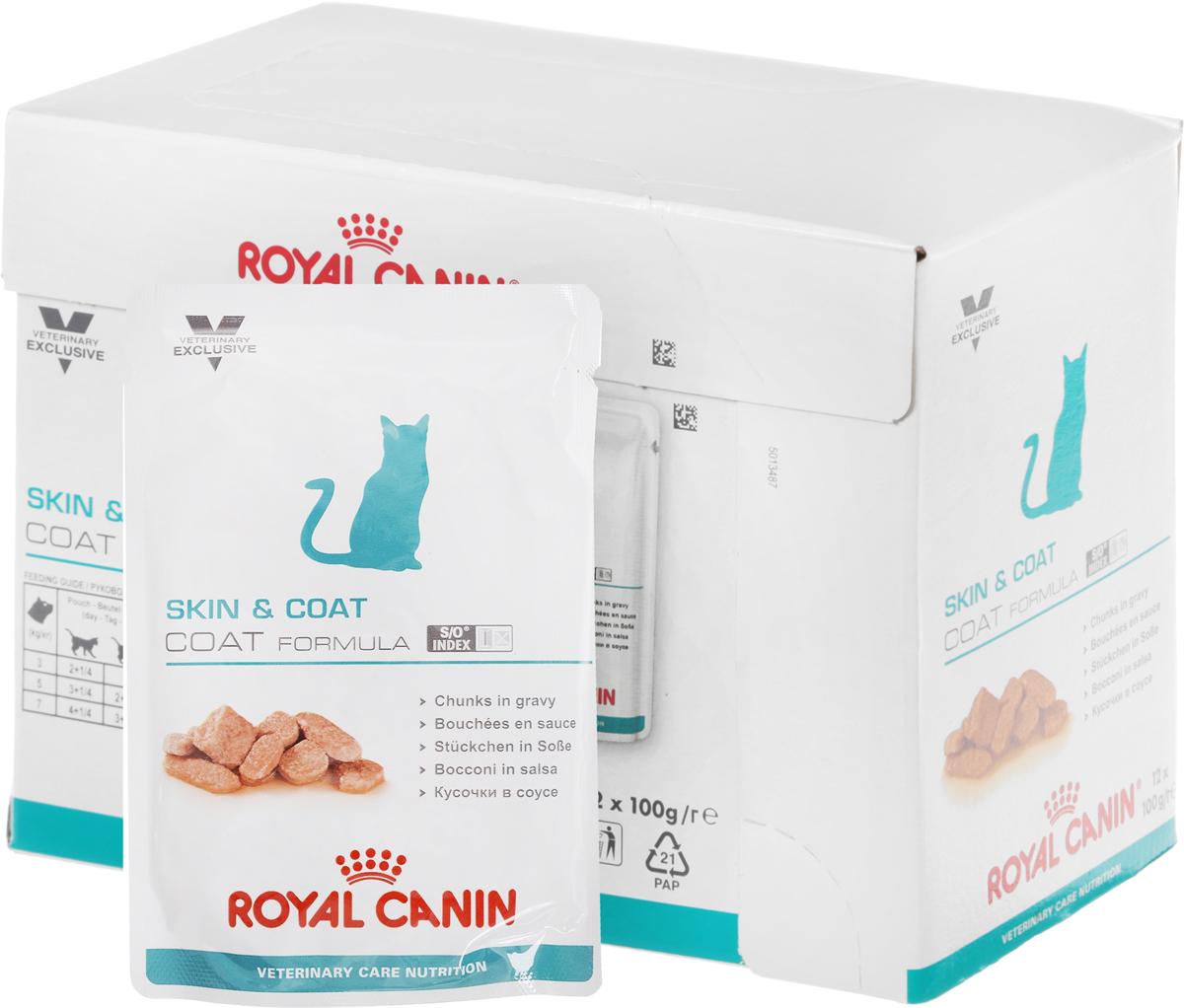 Консервы Royal Canin Skin & Coat для кастрированных котов и стерилизованных кошек с длинной шерстью, 100 г, 12 шт44717Консервы Royal Canin Skin & Coat предназначены для кастрированных/стерилизованных котов и кошек с повышенной чувствительностью кожи и шерсти. Комплекс, состоящий из ниацина, инозита, холина, гистидина и пантотеновой кислоты, уменьшает потерю жидкости через кожу и усиливает ее барьерную функцию. Содержит важнейшие нутриенты, усиливающие мягкость и блеск шерсти, а также защитную функцию кожи.Знак S/O Index на упаковке означает, что диета предназначена для создания в мочевыделительной системе среды, неблагоприятной для образования струвитных кристаллов и кристаллов оксалата кальция. Состав: мясо и мясные субпродукты, рыба и рыбные субпродукты, злаки, субпродукты растительного происхождения, экстракты белков растительного происхождения, минеральные вещества, дрожжи, источники углеводов.Питательные добавки (на 1 кг): витамин D3: 275 МЕ, железо: 10 мг, цинк: 31 мг. Содержание питательных веществ (на 100 г): белки: 10 г, жиры: 4 г, минеральные вещества: 1,5 г, клетчатка пищевая: 1,5 г, влажность: 79%. Товар сертифицирован.