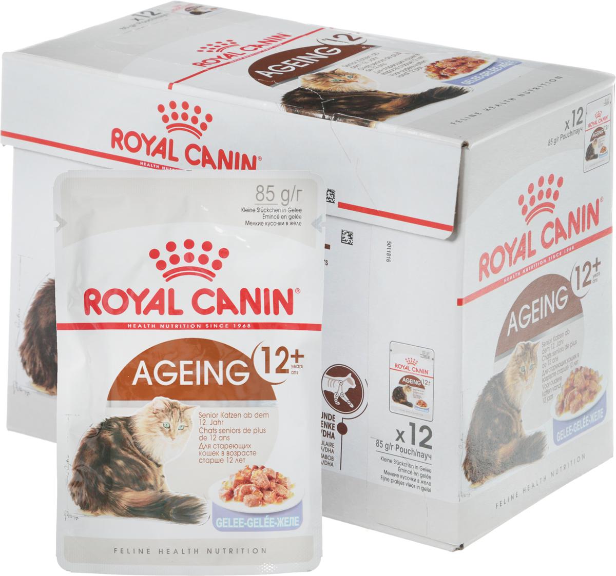 Консервы Royal Canin  Ageing +12 , для кошек старше 12 лет, мелкие кусочки в желе, 85 г, 12 шт - Корма и лакомства