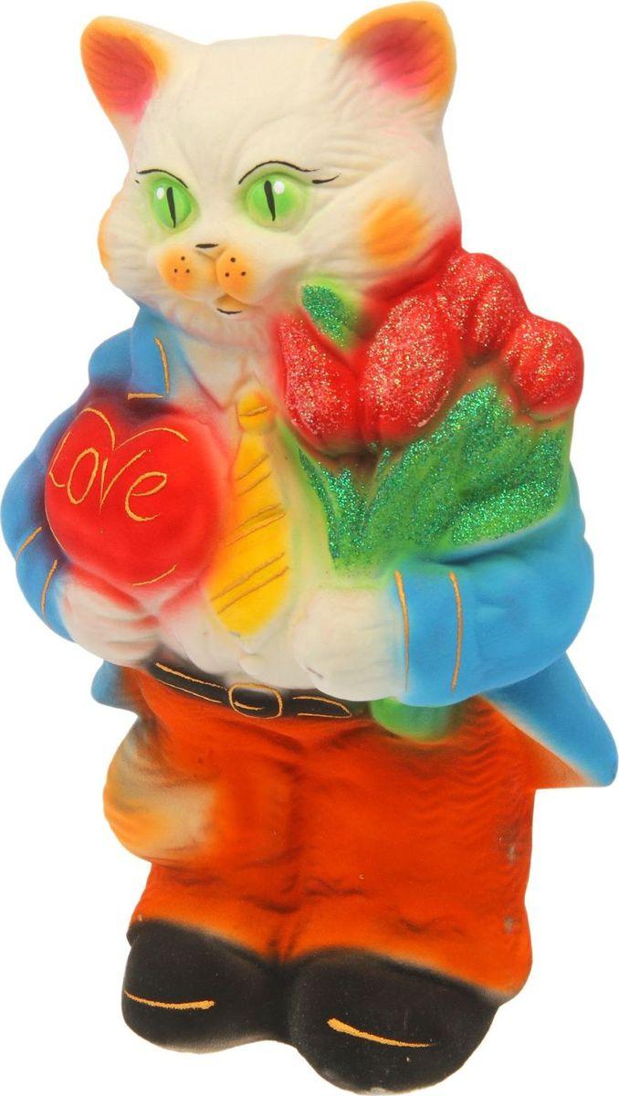 Копилка Керамика ручной работы Кот Франт, цвет: бежевый, голубой, оранжевый, 12 х 20 х 32 см1454700Помните, как порой бывают необходимы не очень большие средства на какое-то нужное и важное дело, но они отсутствуют? Забудьте. В тот момент у вас не было копилки, которая помогла бы в сбережении денег. Изделие в виде котов поспособствует изгнанию злых духов из дома и защищает от сглаза. Кот символизирует домашний уют, тепло семейных отношений, психологический и эмоциональный комфорт.
