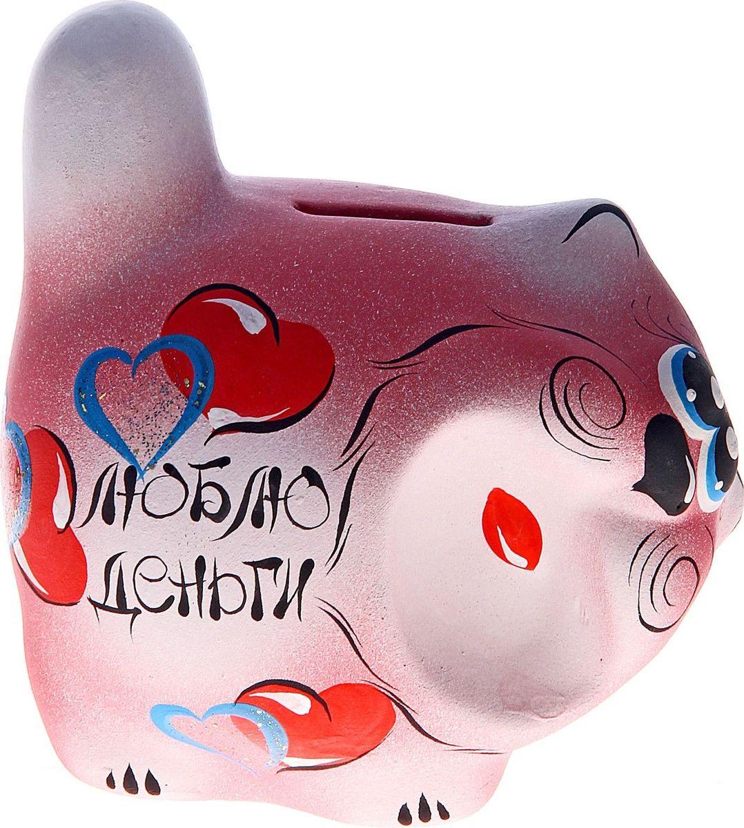 Копилка Кот: люблю деньги, 12 х 10 х 12 см772106Копилка — универсальный вариант подарка любому человеку, ведь каждый из нас мечтает о какой-то дорогостоящей вещи и откладывает или собирается откладывать деньги на её приобретение. Вместительная копилка станет прекрасным хранителем сбережений и украшением интерьера. Она выглядит так ярко и эффектно, что проходя мимо, обязательно захочется забросить пару монет.