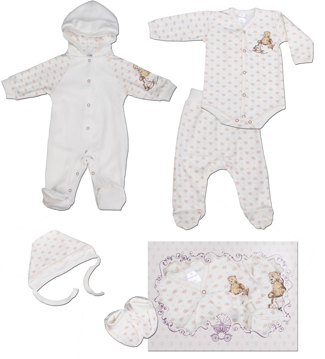 Комплект одежды детский Мамуляндия, цвет: бежевый, 5 предметов. 15-5003П. Размер 62 комбинезон ползунки боди mil