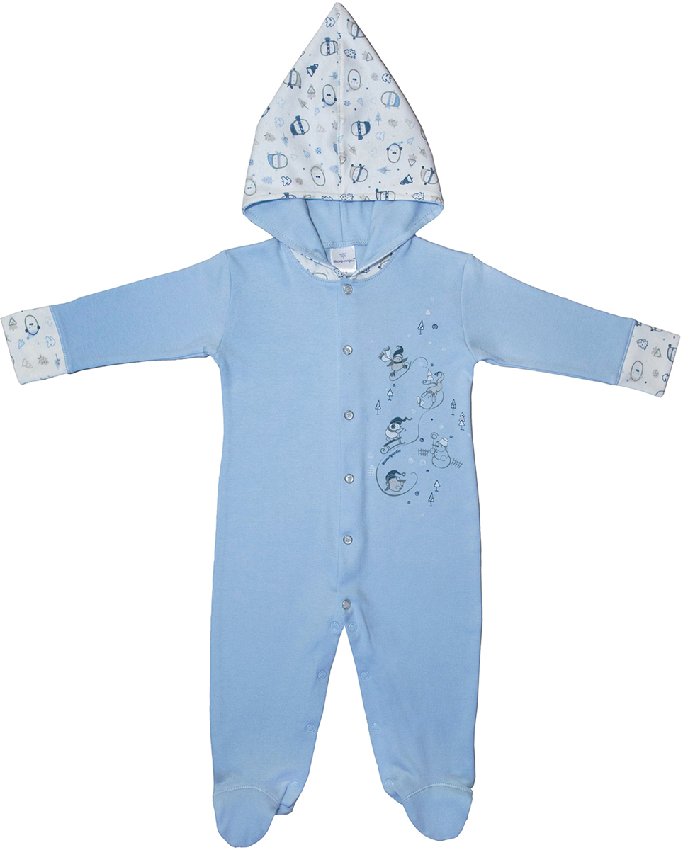 Комбинезон домашний для мальчика Мамуляндия Зимние забавы, цвет: голубой. 17-1502. Размер 80 зимние комбинезоны и комплекты coccodrillo комбинезон для мальчика knight