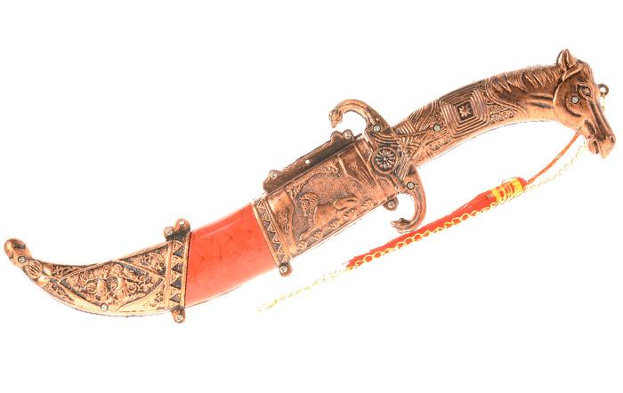 """Сувенирное оружие """"Кинжал"""". Китай. Металл, пластик. Длина: 33 см. Сохранность хорошая."""