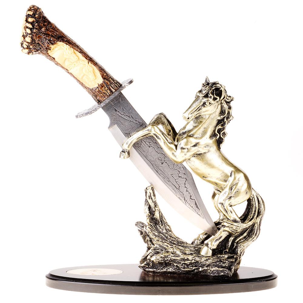 """Сувенирное оружие - кинжал """"Конь"""", на подставке. Китай. Металл, полистоун. Длина 28 см. Сохранность хорошая."""