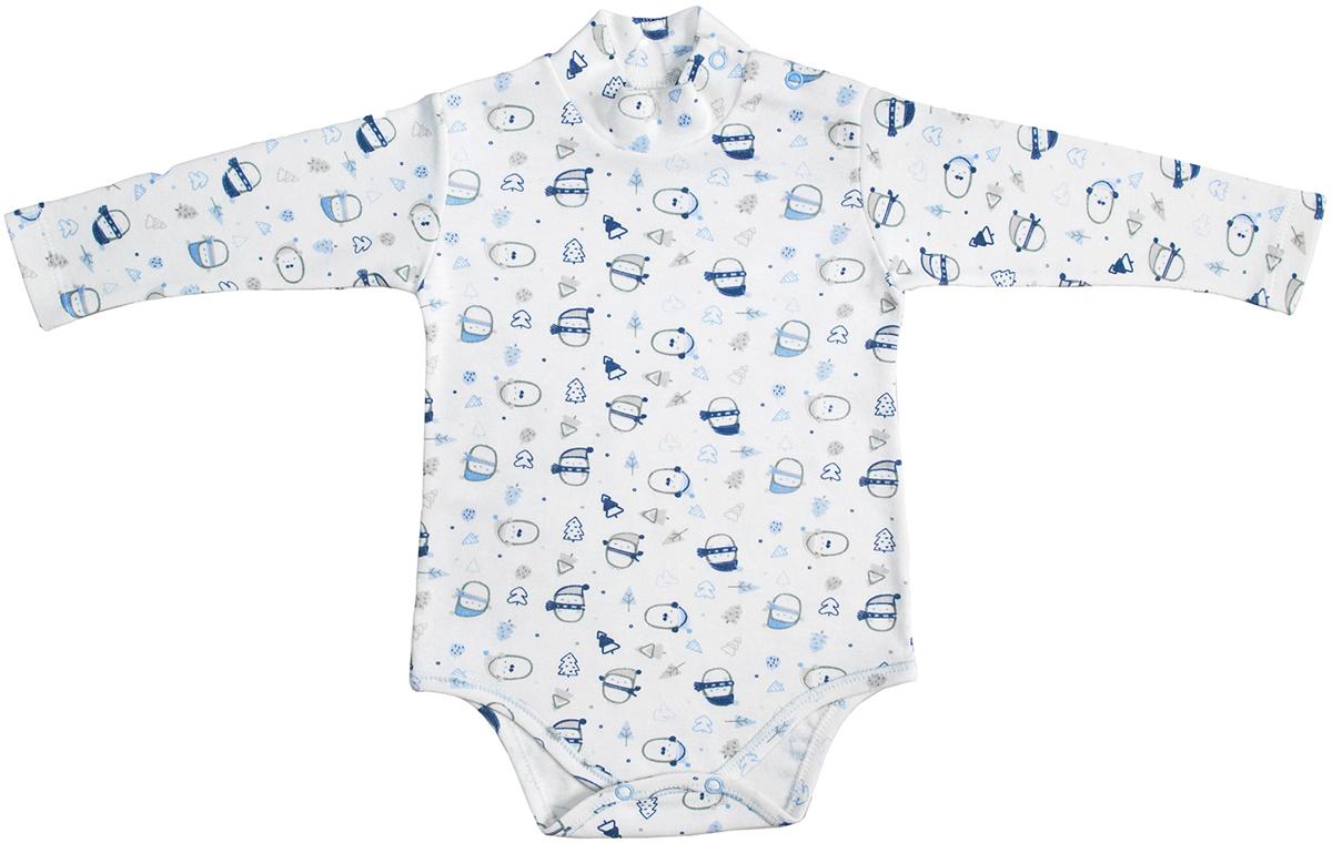 Боди для мальчика Мамуляндия Зимние забавы, цвет: белый, голубой, синий. 17-1511. Размер 68
