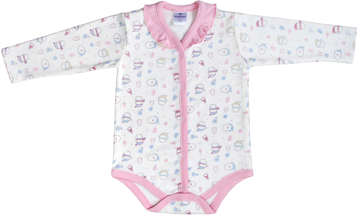 Боди для девочки Мамуляндия Зимние забавы, цвет: белый, розовый, голубой. 17-1601. Размер 68