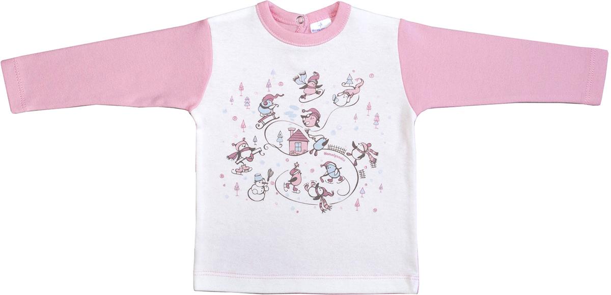 Джемпер для девочки Мамуляндия Зимние забавы, цвет: розовый, белый. 17-1603. Размер 8017-1603Джемпер для девочки Мамуляндия из коллекции Зимние забавы. Модель с длинным рукавом выполнена из трикотажного полотна (интерлок) и декорирована гипоаллергенным принтом на водной основе. Застежка по спинке на кнопку.