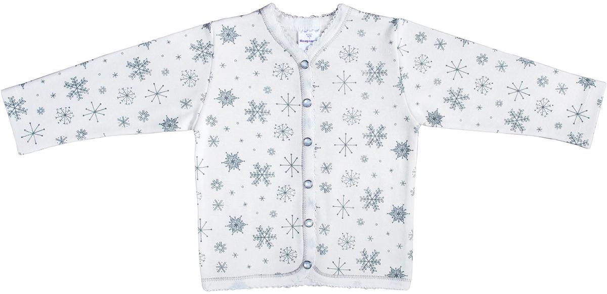 Кофточка для девочки Мамуляндия Снежинка, цвет: белый. 17-2004. Размер 86 кофточка мамуляндия 56 см с застежкой акварель голубой