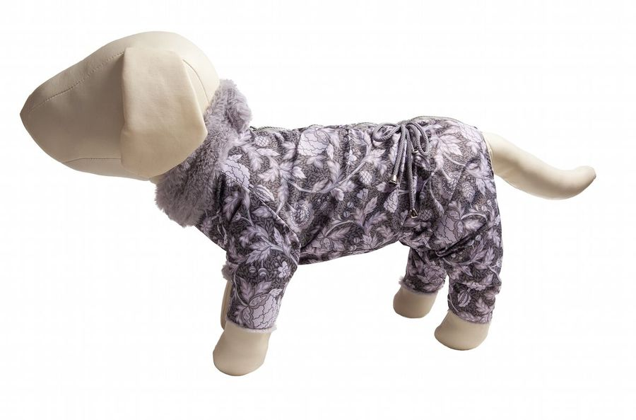Комбинезон для собак  OSSO Fashion , на меху, для девочки, цвет: серый, розовый. Размер 22 - Одежда, обувь, украшения