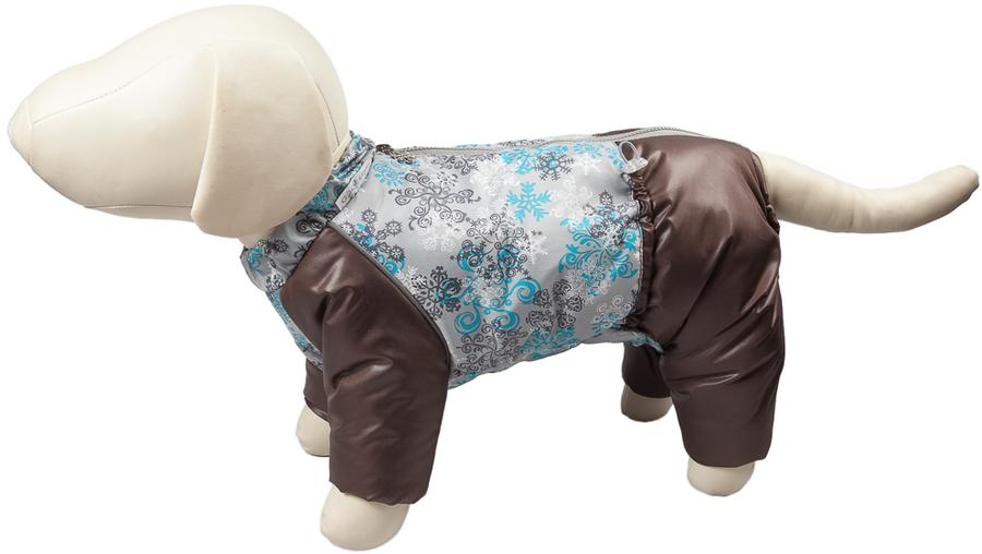 Комбинезон для собак OSSO Fashion Снежинка, зимний, для мальчика, цвет: коричневый. Размер: 22Ксп-1060-коричневый-вставкаЗимний комбинезон для собак OSSO Fashion Снежинка состоит из: водоотталкивающей и ветрозащитной ткани (100% полиэстер), обработанной водоотталкивающей (PU) пропиткой.утеплителя - синтепона и подкладки (100% полиэстер).Зимний комбинезон OSSO Fashion Снежинка идеален для прогулок в холодную, морозную или сырую погоду для защиты собаки от снега, грязи и воды.Выполнен из двух сочетаемых по цвету тканей, используется отделка со светоотражающим кантом. Внутренняя часть утеплена синтепоном. Застегивается сверху на спине на молнии. На воротнике имеется кнопка для фиксации. Комфортная посадка по корпусу достигается за счет резинки-утяжки под животом. Низ штанин сборен на резинку, при желании можно подвернуть.Зимний комбинезон максимально защитит собаку от холода и грязи, т.к животик полностью закрыт, для кобелей есть специальный вырез.Рекомендуется машинная стирка с использованием средства для стирки деликатных тканей (при температуре не выше 40 С) и загрузке барабана не более чем на 40 % от его объема, отжим при скорости не более 400/500 об/мин , сушка на воздухе - с целью уменьшения воздействия на водоотталкивающую (PU) пропитку ткани. Обхват шеи: 26 см.Обхват груди: 38 см.Длина по спинке: 22 см.Длина лапы: 7-8 см.