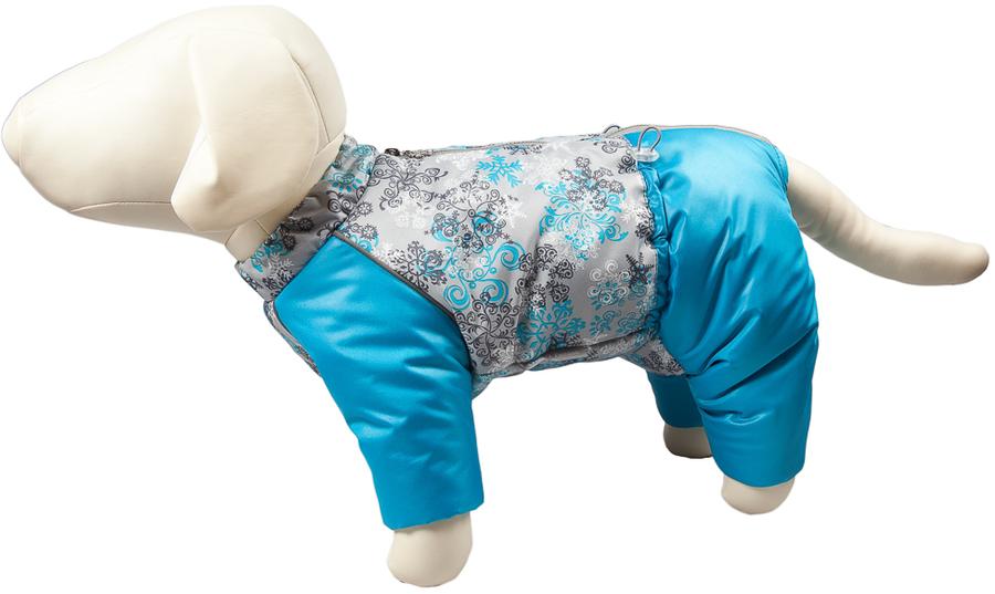 Комбинезон для собак OSSO Fashion Снежинка, зимний, для девочки, цвет: бирюзовый. Размер: 37Ксп-1071-бирюзовый-вставкаЗимний комбинезон для собак OSSO Fashion Снежинка состоит из: водоотталкивающей и ветрозащитной ткани (100% полиэстер), обработанной водоотталкивающей (PU) пропиткой.утеплителя - синтепона и подкладки (100% полиэстер).Зимний комбинезон OSSO Fashion Снежинка идеален для прогулок в холодную, морозную или сырую погоду для защиты собаки от снега, грязи и воды.Выполнен из двух сочетаемых по цвету тканей, используется отделка со светоотражающим кантом. Внутренняя часть утеплена синтепоном. Застегивается сверху на спине на молнии. На воротнике имеется кнопка для фиксации. Комфортная посадка по корпусу достигается за счет резинки-утяжки под животом. Низ штанин сборен на резинку, при желании можно подвернуть.Зимний комбинезон максимально защитит собаку от холода и грязи, т.к животик полностью закрыт.Рекомендуется машинная стирка с использованием средства для стирки деликатных тканей (при температуре не выше 40 С) и загрузке барабана не более чем на 40 % от его объема, отжим при скорости не более 400/500 об/мин , сушка на воздухе - с целью уменьшения воздействия на водоотталкивающую (PU) пропитку ткани. Обхват шеи: 42 см.Обхват груди: 58 см.Длина по спинке: 37 см.Длина лапы: 14-15 см.