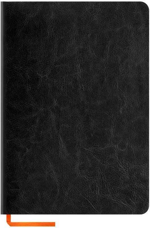 OfficeSpace Записная книжка Nebraska Soft 120 листов в клетку цвет черный формат A5N5s_6897Стильная записная книжка OfficeSpace Nebraska Soft с ярким цветным срезом и ультра-мягкой обложкой из 2 слоев высококачественного кожзаменителя. Подходит под персонализацию.Внутренний блок из высококачественной тонированной офсетной бумаги 70 г/м2, клетка, пантонная печать. Прошитый блок. Срез блока, форзацы, закладка-ляссе и каптал - оранжевые.Формат А5.