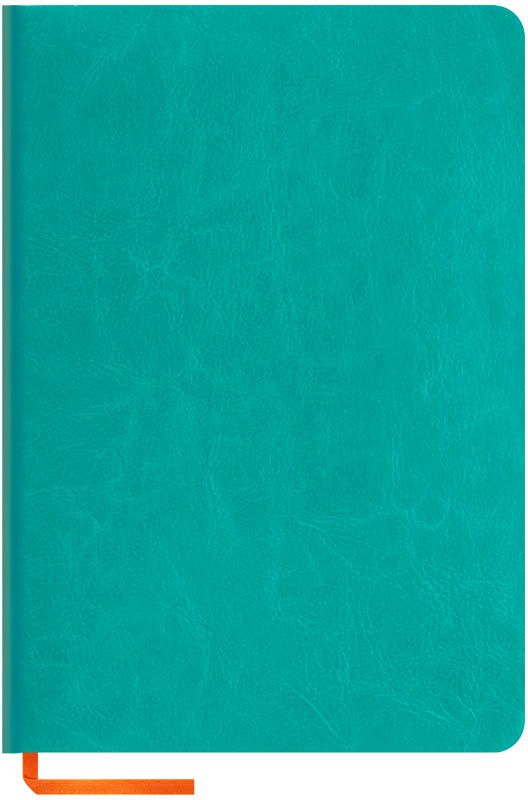 OfficeSpace Записная книжка Nebraska Soft 120 листов в клетку цвет бирюзовый формат A5N5s_6901Стильная записная книжка с ярким цветным срезом и ультра-мягкой обложкой из 2 слоев высококачественного кожзаменителя. Подходит под персонализацию. Внутренний блок из высокачественной тонированной офсетной бумаги 70 г/м2, клетка, пантонная печать. Прошитый блок. Срез блока, форзацы, закладка-ляссе и каптал - оранжевые. Индивидуальная упаковка.