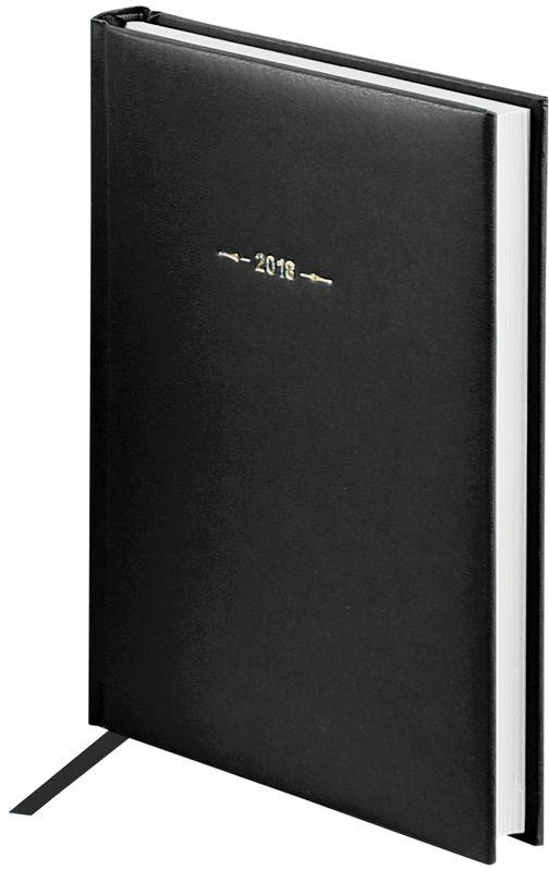 OfficeSpace Ежедневник Ariane 2018 датированный 176 листов в линейку цвет черный формат A5Ed5_12401Ежедневник датированный формата А5 из коллекции Ariane. Обложка изготовлена из высококачественного переплетного материала с поролоновой прослойкой, цвет обложки - черный. Подходит для всех видов полиграфического тиснения. Внутренний блок состоит из 176 листов офсетной бумаги плотностью 70 г/м2, печать блока в 2 краски, справочный материал. На форзацах географические карты России и Мира. Удобная закладка-ляссе и перфорированные уголки.