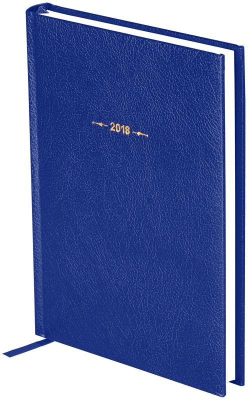 OfficeSpace Ежедневник Derby 2018 датированный 176 листов в линейку цвет синий формат A5Ed5_12483Ежедневник датированный формата А5 из коллекции Derby. Обложка изготовлена из высококачественного переплетного материала с поролоновой прослойкой, цвет обложки - синий. Подходит для всех видов полиграфического тиснения. Внутренний блок состоит из 176 листов офсетной бумаги плотностью 70 г/м2, печать блока в 2 краски, справочный материал. На форзацах географические карты России и Мира. Удобная закладка-ляссе и перфорированные уголки.
