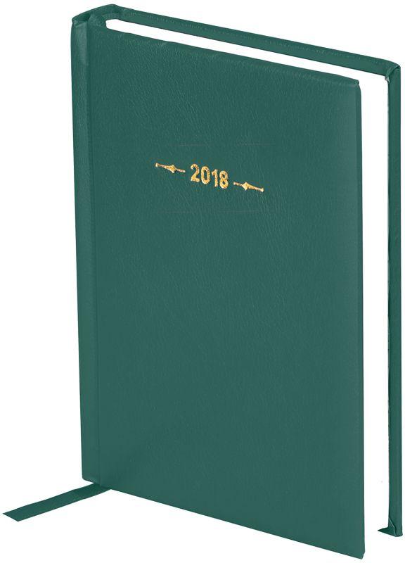 OfficeSpace Ежедневник Derby 2018 датированный 176 листов в линейку цвет зеленый формат A6Ed6_12497Ежедневник датированный формата А6 из коллекции Derby. Обложка изготовлена из высококачественного переплетного материала с поролоновой прослойкой, цвет обложки - зеленый. Подходит для всех видов полиграфического тиснения. Внутренний блок состоит из 176 листов офсетной бумаги плотностью 70 г/м2, печать блока в 2 краски, справочный материал. На форзацах географические карты России и Мира. Удобная закладка-ляссе и перфорированные уголки.
