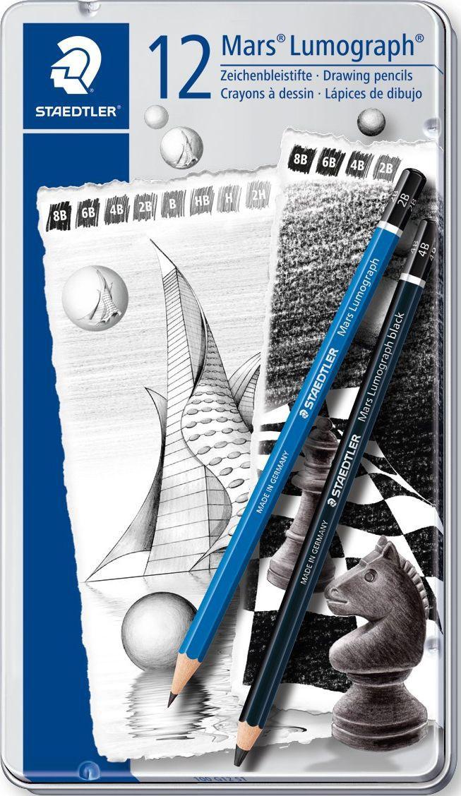 Staedtler Набор чернографитовых карандашей Mars Lumograph 100 12 шт 100G12S1 -  Карандаши