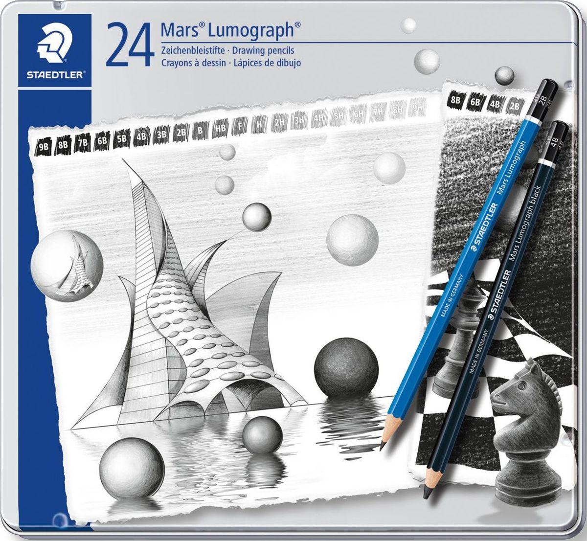 Staedtler Набор чернографитовых карандашей Mars Lumograph 100 24 шт100G24SНабор Staedtler Mars Lumograph 100 состоит из 24 черногрaфитовых карандашей в металлической упаковке, 22 разные степени твердости. Содержит 20 карандашей с корпусом синего цвета (9B, 8B, 7B, 6B, 5B, 3B, 2B, HB, F, H, 2H, 3H, 4H, 5H, 6H, 7H, 8H, 9H) и 4 карандаша с корпусом черного цвета (8B, 6B, 4B, 2B). Высококачественные чернографитовые карандаши предназначены для письма, черчения и набросков на бумаге и матовой чертежной пленке. Непревзойденная устойчивость к поломке благодаря специально разработанному составу грифеля и особой проклейке. Четкое нанесение линий. При производстве используется древесина сертифицированных и специально подготовленных лесов.