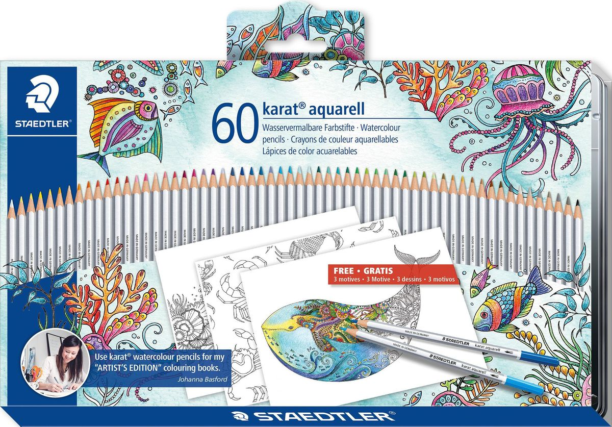 Staedtler Набор акварельных карандашей Karat Aquarell 125 Джоанна Бэсфорд 60 цветов -  Карандаши