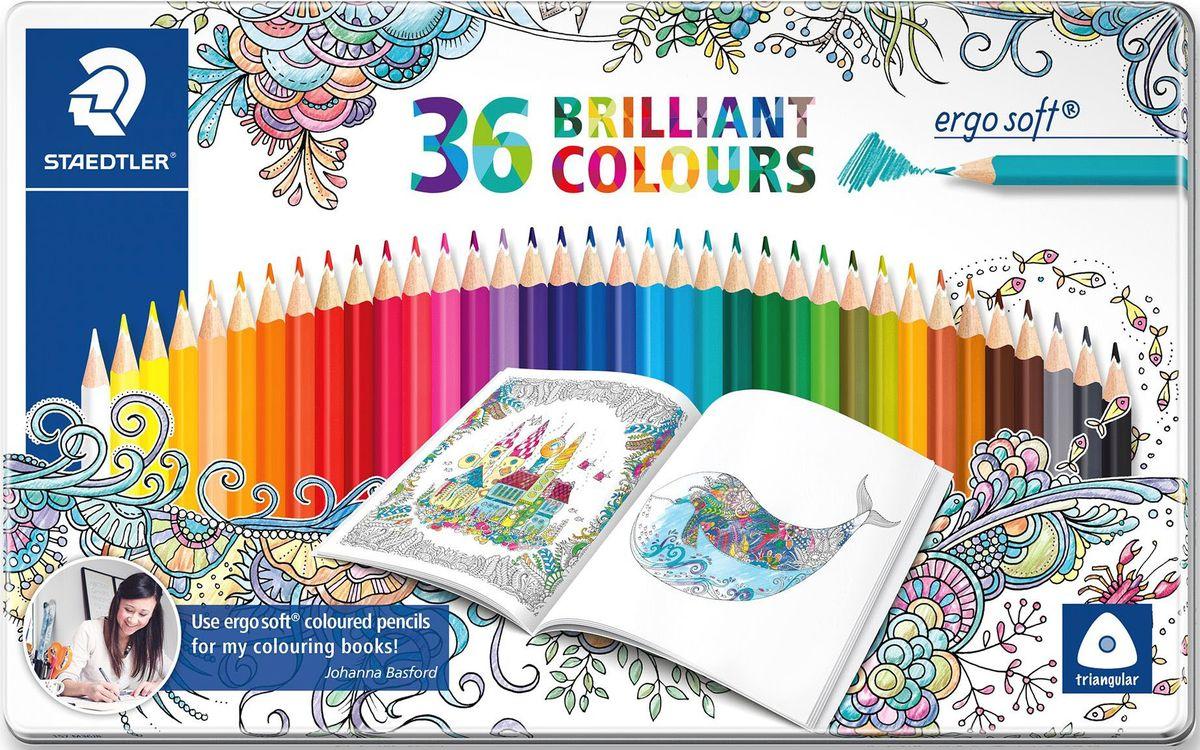 Staedtler Набор цветных карандашей Ergosoft 157 Джоанна Бэсфорд 36 цветов -  Карандаши