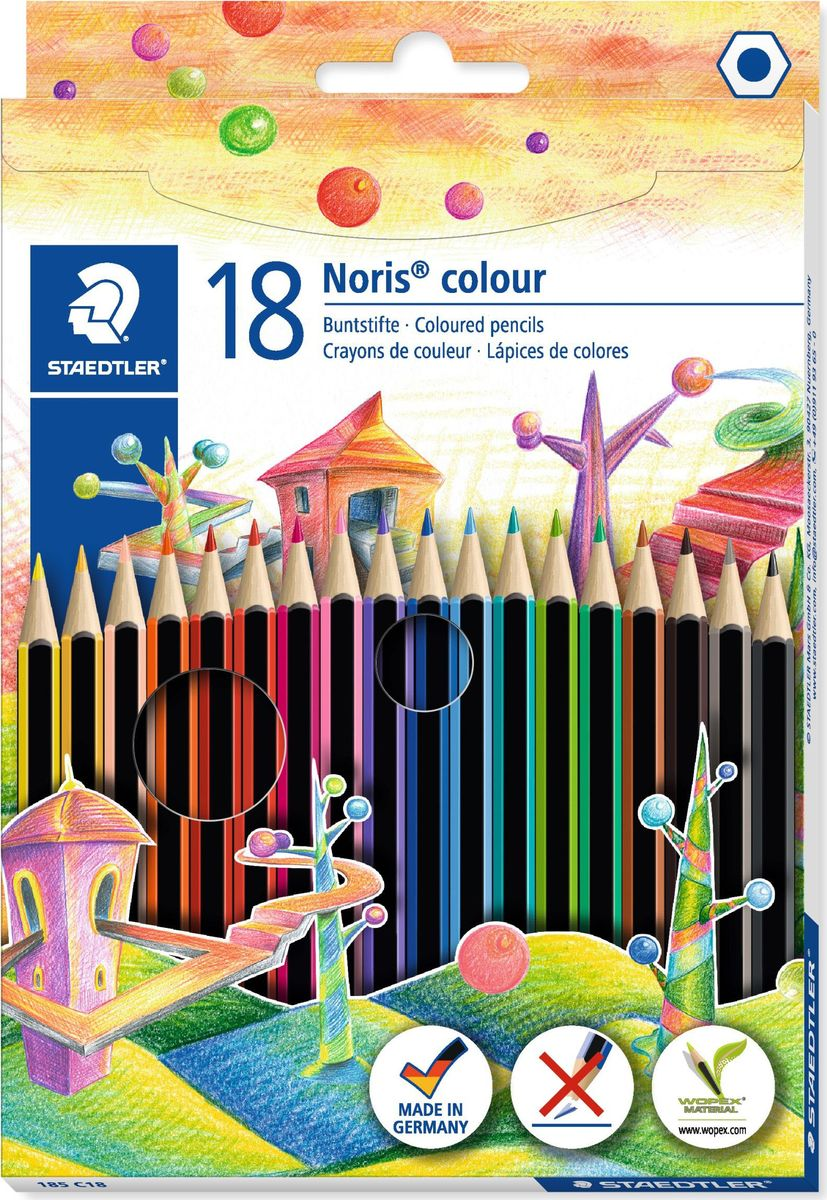 Staedtler Набор цветных карандашей Noris Colour Wopex 18 цветов185C18Цветные карандаши Noris Colour из инновационного материала Wopex. Сделаны из нового природного волокнистого материала: 70% древесины + пластиковый композит. Высокое качество письма, рисования, эскизов. Нескользящая, бархатистая поверхность; особенно ударопрочный корпус и грифель; гладкое письмо. Инновационный, однородный материал Wopex обеспечивает исключительно гладкую и ровную заточку с любым качеством точилки. Текст и рисунки легко стереть. Упаковка - 18 цветов.