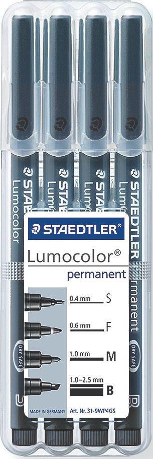 Staedtler Набор перманентных маркеров Lumocolor 4 шт 31-9WP4GS31-9WP4GSНабор универсальных перманентных маркеров LumoColor. 4 толщины линии: S - 0,4мм, F - 0,6 мм, M - 1,0 мм; B - 1,0-2,5 мм. Универсальные маркеры для большинстваповерхностей. Превосходная защита от смазывания и водоустойчивыехарактеристики на большинстве гладких поверхностей. Высыхает в считанныесекунды. Перманентные слабопахнущие чернила. Светостойкие цвета. Корпус иколпачок из полипропилена гарантируют долгий срок службы. Защита отвысыхания - может быть оставлен без колпачка на несколько дней (Тест ISO 554).Безопасно для самолетов - автоматическое выравнивание давленияпредотвращает от вытекания чернил на борту самолета. Чернила без ксилона итолуола.