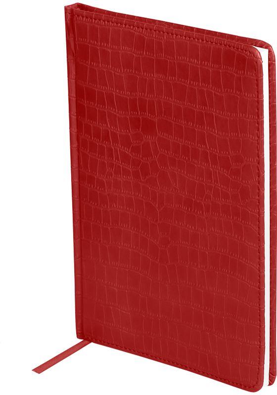 OfficeSpace Ежедневник Croco недатированный 160 листов в линейку цвет красный формат A5En5_12555Ежедневник недатированный формата А5 из коллекции Croco. Обложка изготовлена из высококачественного кожзаменителя, имитирующего полуматовую крокодиловую кожу, с поролоновой прослойкой, цвет обложки - красный. Подходит для всех видов полиграфического тиснения. Внутренний блок состоит из 160 листов офсетной бумаги плотностью 70 г/м2, печать блока в 2 краски, справочный материал. На форзацах географические карты России и Мира. Удобная закладка-ляссе и перфорированные уголки.