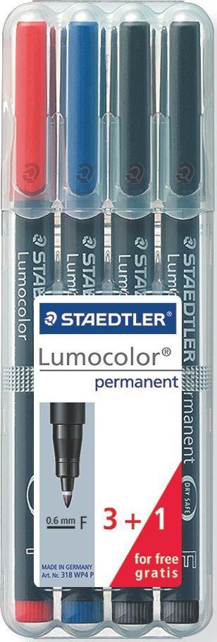 Staedtler Набор перманентных маркеров Lumocolor 318 F 4 шт318WP4PНабор перманентных маркеров Lumocolor 318 серии содержит 3 цвета. Маркеры упакованы в пластиковую коробку-подставку Staedtler. Универсальные маркеры предназначены для большинства поверхностей. Подходят для работы с проекторами. Превосходная защита от смазывания и водоустойчивые характеристики на большинстве гладких поверхностей. Высыхает в считанные секунды. Перманентные слабопахнущие чернила. Светостойкие цвета. Корпус и колпачок из полипропилена гарантируют долгий срок службы. Защита от высыхания - может быть оставлен без колпачка на несколько дней (Тест ISO 554). Безопасно для самолетов - автоматическое выравнивание давления предотвращает от вытекания чернил на борту самолета. Чернила без ксилона и толуола. Непревзойденная яркость цветов. Толщина линии F, приблизительно 0,6 мм.