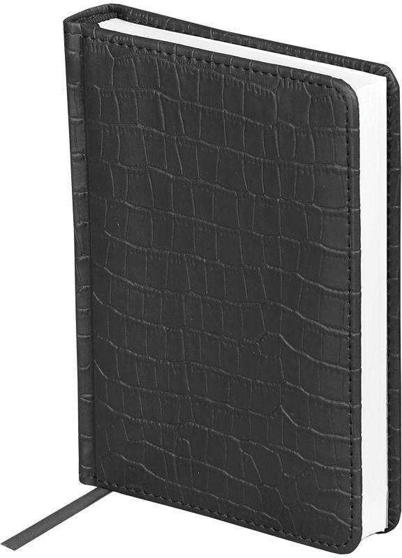 OfficeSpace Ежедневник Croco недатированный 160 листов цвет черный формат A6En6_12559Недатированный ежедневник OfficeSpace Croco имеет обложку, изготовленную из высококачественного кожзаменителя, имитирующего полуматовую крокодиловую кожу, с поролоновой прослойкой, цвет обложки - черный. Подходит для всех видов полиграфического тиснения. Внутренний блок состоит из 160 листов офсетной бумаги в линейку, плотностью 70 г/м2, печать блока в 2 краски, справочный материал. На форзацах географические карты России и Мира. Удобная закладка-ляссе и перфорированные уголки.Формат A6.