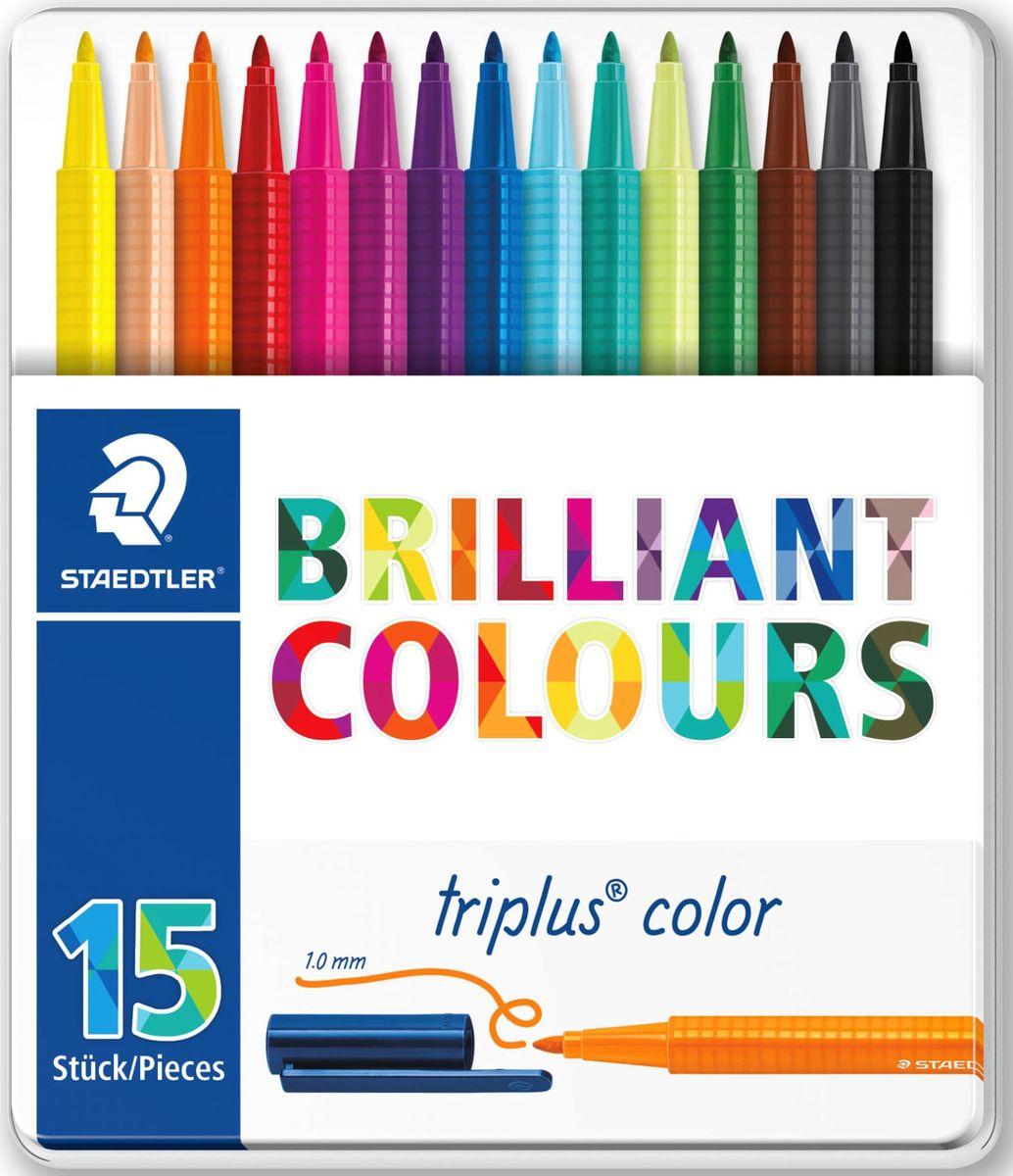 Staedtler Набор фломастеров Triplus 323 Яркие цвета 15 цветов323M15Набор фломастеров 323 серии Triplus Color Яркие цвета состоит из 15 цветов. Каждый фломастер имеет:Эргономичный трехгранный корпус для легкого и удобного письма и рисования. Прочный, устойчивый к нажиму пишущий узел. Защита от высыхания - может быть оставлен без колпачка на несколько дней (тест ISO 554). Вентилируемый колпачок. Чернила на водной основе. Отстирываются с большинства поверхностей. Корпус и колпачок из полипропилена гарантируют долгий срок службы.