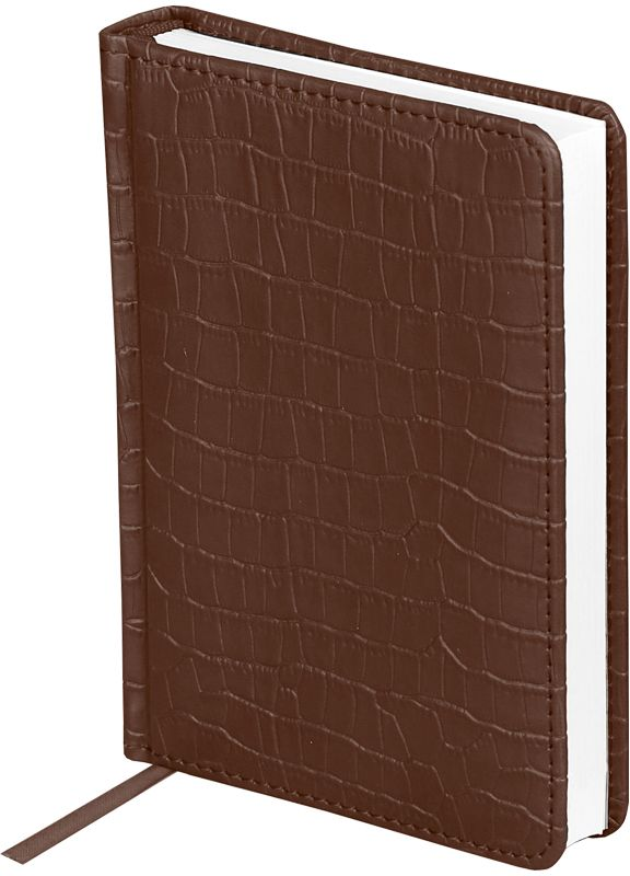OfficeSpace Ежедневник Croco недатированный 160 листов цвет коричневый формат A6En6_12561Недатированный ежедневник OfficeSpace Croco имеет обложку, изготовленную из высококачественного кожзаменителя, имитирующего полуматовую крокодиловую кожу, с поролоновой прослойкой, цвет обложки - коричневый. Подходит для всех видов полиграфического тиснения. Внутренний блок состоит из 160 листов офсетной бумаги в линейку, плотностью 70 г/м2, печать блока в 2 краски, справочный материал. На форзацах географические карты России и Мира. Удобная закладка-ляссе и перфорированные уголки.Формат A6.