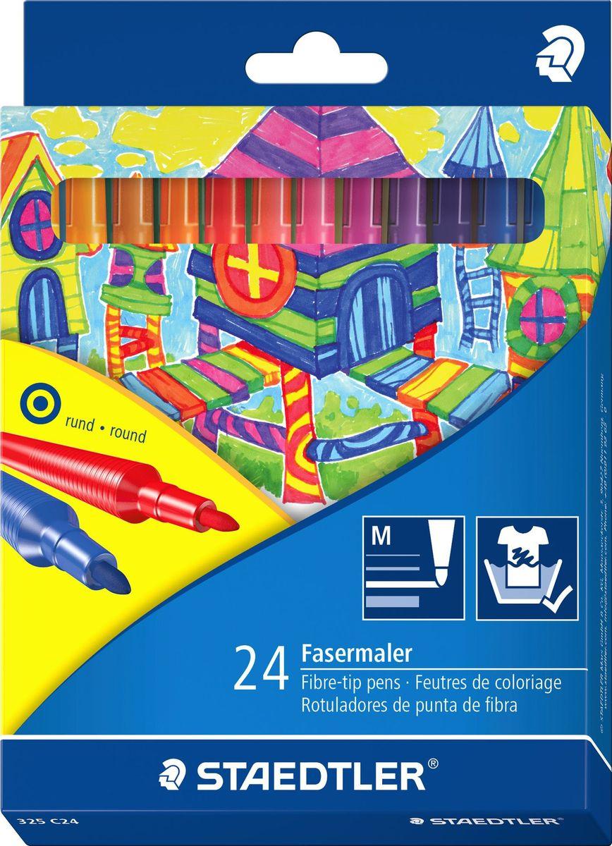 Staedtler Набор фломастеров Noris Club 325 24 цвета325C24Набор фломастеров Staedtler Noris Club предназначен для маленьких и любознательных малышей. Он включает в себя 24 уникальных разноцветных фломастера. Каждый фломастер оснащен вентилируемым колпачком. Отстирываются с большинства поверхностей. Толщина линии примерно 1 мм. Фломастеры упакованы в картонную коробку с подвесом.