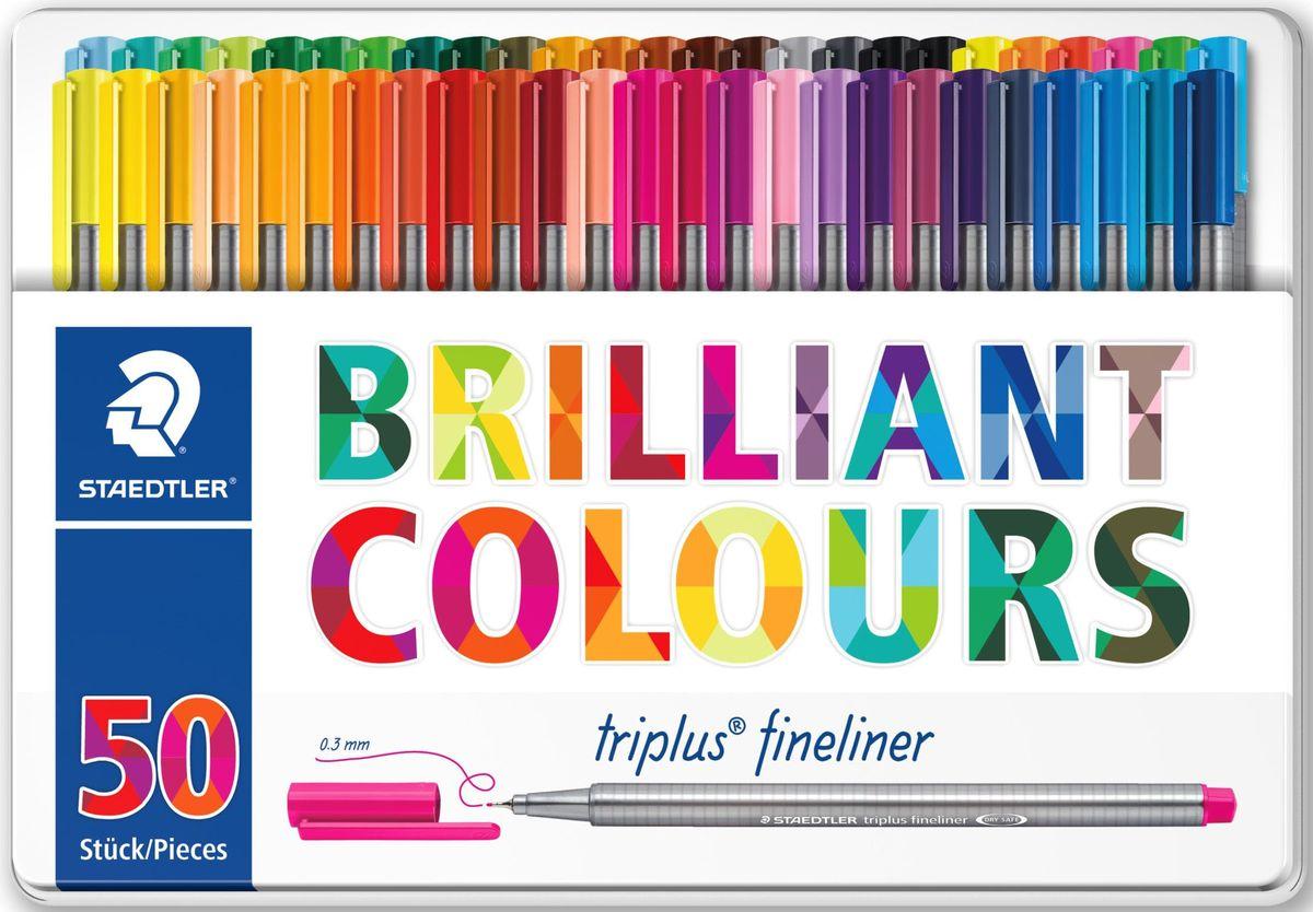 Staedtler Набор капиллярных ручек Triplus 334 Яркие цвета 50 цветов staedtler набор капиллярных ручек triplus 3 цвета