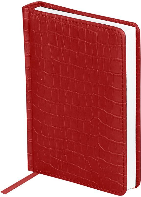 OfficeSpace Ежедневник Croco недатированный 160 листов в линейку цвет красный формат A6En6_12Ежедневник недатированный формата А6 из коллекции Croco. Обложка изготовлена из высококачественного кожзаменителя, имитирующего полуматовую крокодиловую кожу, с поролоновой прослойкой, цвет обложки - красный. Подходит для всех видов полиграфического тиснения. Внутренний блок состоит из 160 листов офсетной бумаги плотностью 70 г/м2, печать блока в 2 краски, справочный материал. На форзацах географические карты России и Мира. Удобная закладка-ляссе и перфорированные уголки.