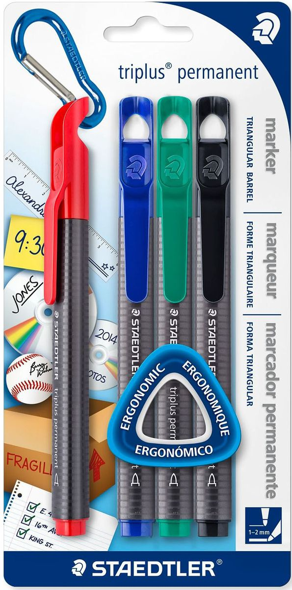 Staedtler Набор перманентных маркеров Triplus 1-2 мм 4 цвета -  Маркеры