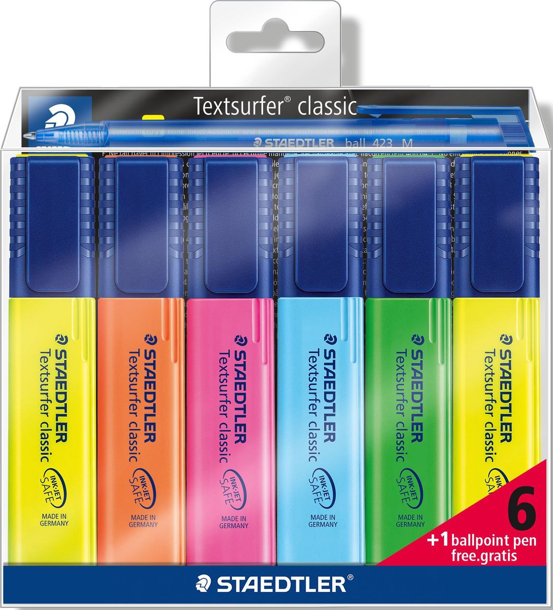Staedtler Набор текстовыделителей Textsurfer Classic 364 6 цветов с ручкой textsurfer classic highlighter no 364 fast drying for paper fax and carbon copies ultra soft chisel tip