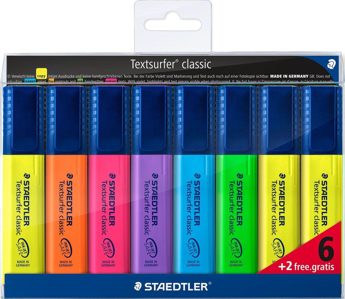 Staedtler Набор текстовыделителей Сlassic 364 6 шт + 2 шт бесплатно364AWP8Набор текcтовыделителей Staedtler Сlassic 364 состоит из 6 цветов + 2 цвета бесплатно. Такой набор подходит для копирования, для работы на бумаге, факсовой бумаге и копиях. Каждый текстовыделитель имеет скошенный пишущий узел и ультрамягкую кисточку. Большой объем чернил для экстра долгой службы. Быстро высыхает, слабый запах. Безопасно для струйных принтеров - не смазывает распечатки и написанный текст. Корпус и колпачок из полипропилена гарантируют долгий срок службы.Безопасно для самолетов - автоматическое выравнивание давления предотвращает от вытекания чернил на борту самолета.