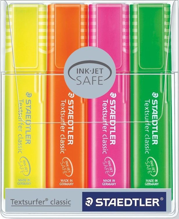 Staedtler Набор текстовыделителей Textsurfer Classic 364 4 цвета неон textsurfer classic highlighter no 364 fast drying for paper fax and carbon copies ultra soft chisel tip